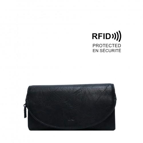 Gem Flap Long Wallet - Black